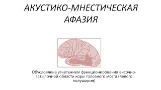 видео Семантическая афазия. Нарушение понимания речи при семантической афазии