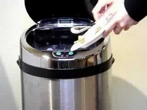 ITouchless 13 Gallon Stainless Steel Motion Sensor Trash Can   YouTube