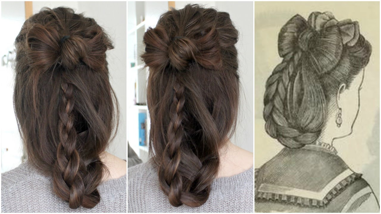 1870s hair bow historical hairstyling