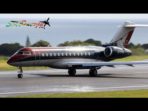 Global Express BD-700 double departure @ St Kitts Robert L. Bradshaw Int'l Airport