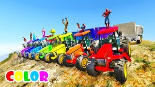 LEARN Color Tractor race from Mountain with  superheroes  Cartoon for kids and babies