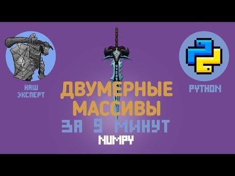Словари Python: Numpy. Двумерные массивы. Индексация за 9 минут