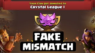 MISMATCH IN CWL IS FAKE . END MISMATCH IN COC, CLASH OF CLANS INDIA.