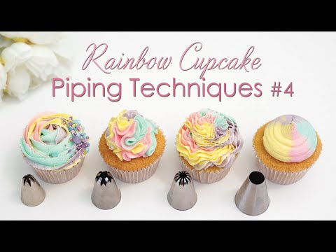 Cupcake Piping Techniques Tutorial #4 - With Rainbow Swirls thumbnail