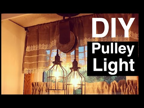 DIY Antique Wood Pulley Cage Lights - Farmhouse Style