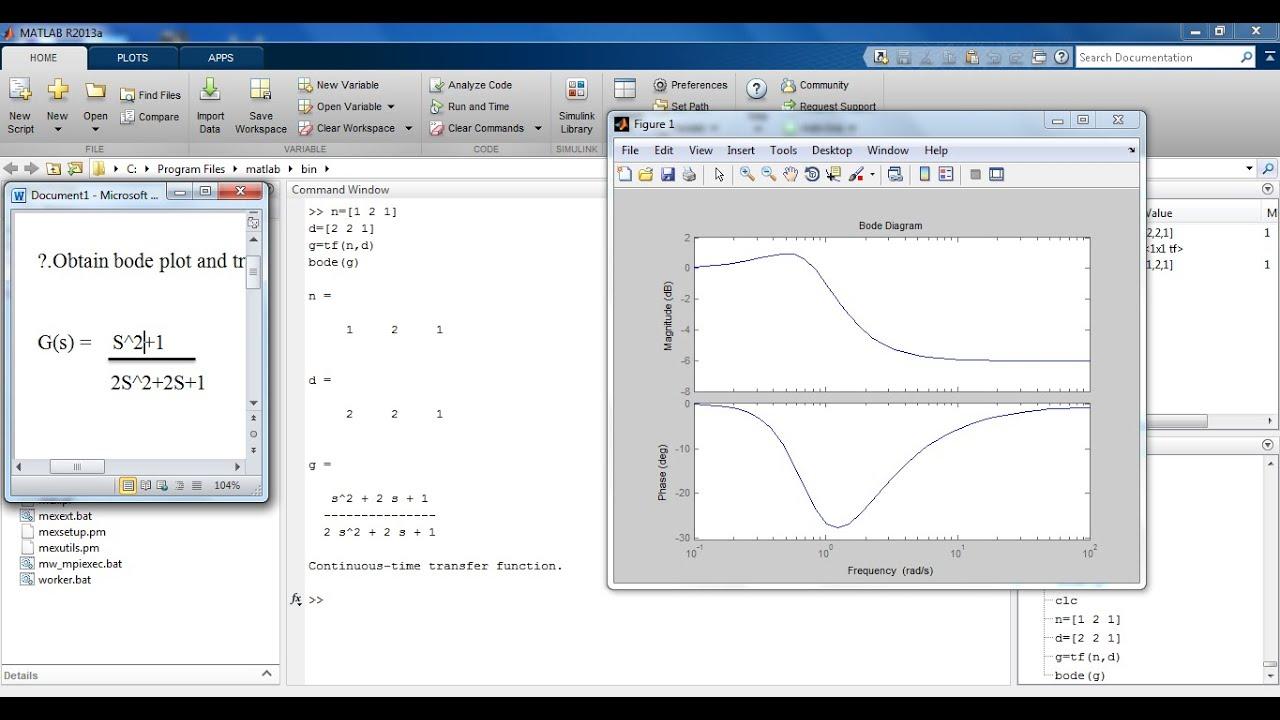 Bode plot from transfer function in MATLAB