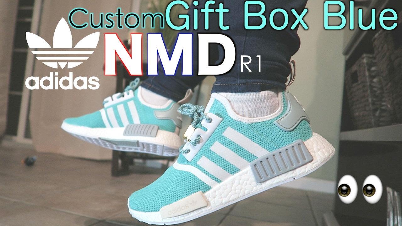 bf3e5ba032a9 How To  Custom Adidas NMD R1 GIFT BOX BLUE w  On Feet Review and TimeLapse   Tiffany