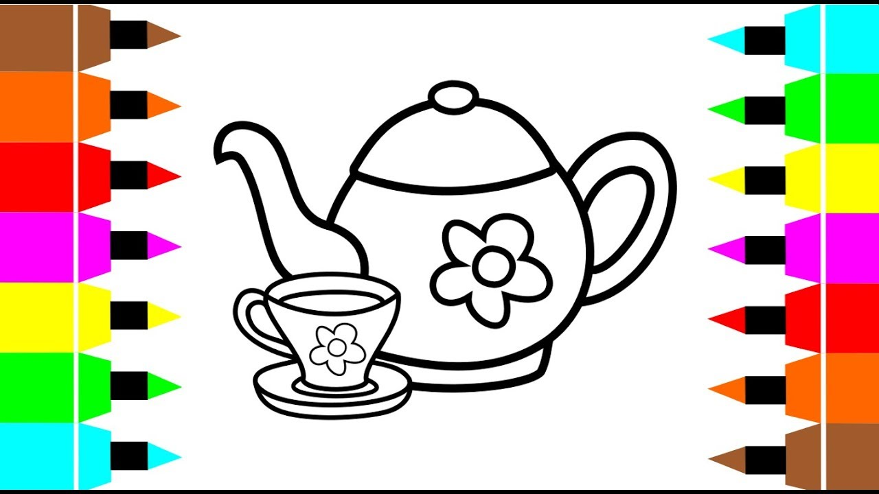 How to draw and painting tea cup and teapot for kids and Tuddler ...
