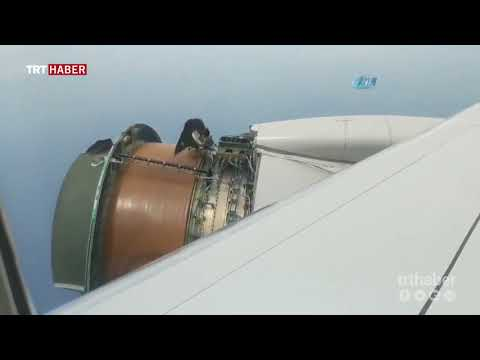 ABD'de yolcu uçağının motor kapağı havada koptu.