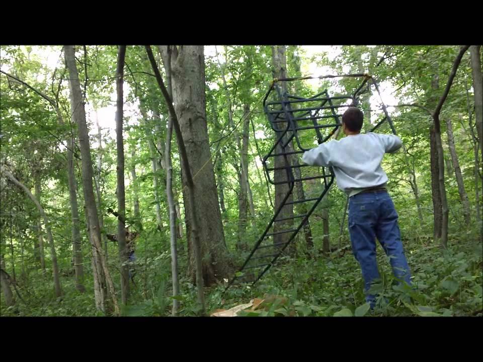 How to put up a double ladder stand with just 2 people for Deer stand steps