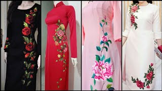 Most Beautiful Stylish And Outstanding Thread Work Flowers Embroidery Kurti Design