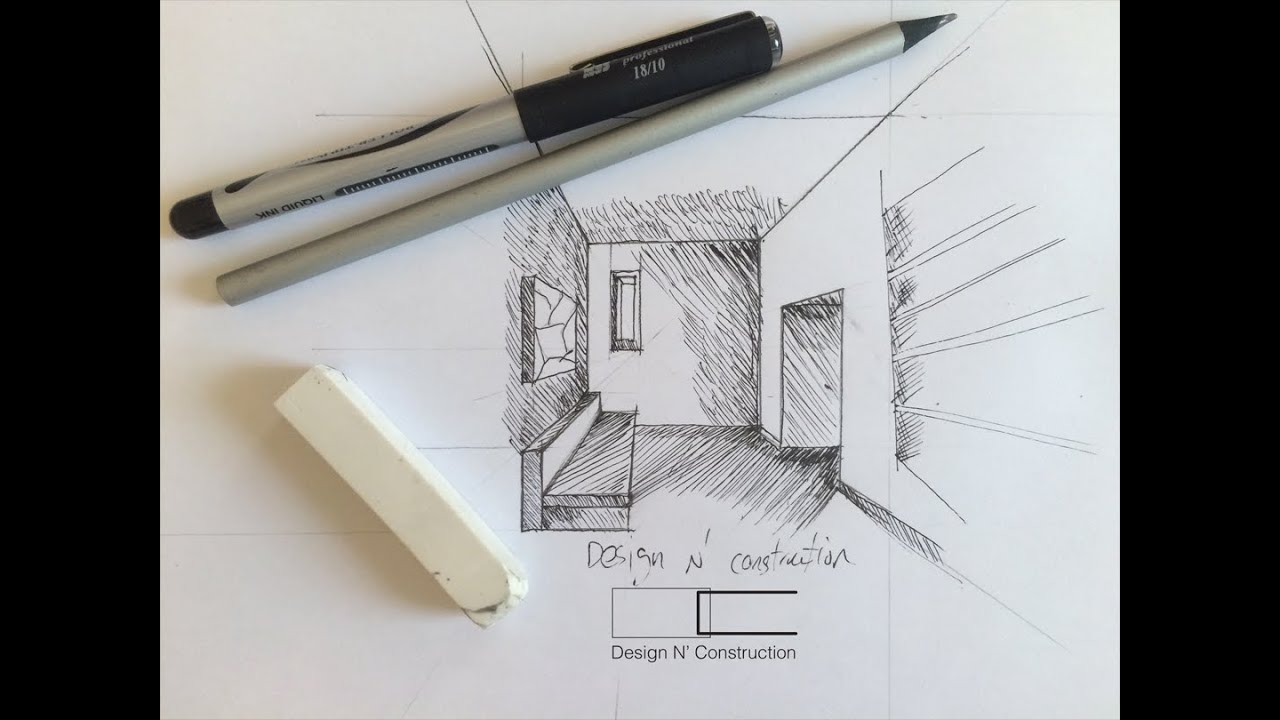 Draw Interior Perspective With Line Shading Youtube