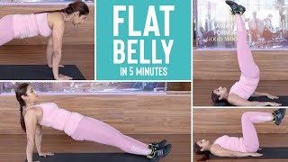 FLAT BELLY in just 5 minutes! | Easy at home exercise routine FOR BEGINNERS!