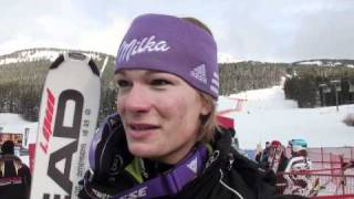 Maria Riesch and Elena Fanchini talk after Training 3 at The Lake Louise Winterstart World Cup