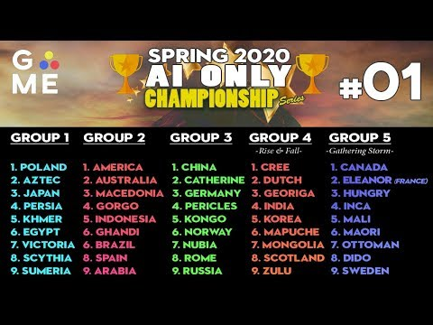 SPRING 2020 - AI ONLY Championship | Civilization 6: Gathering Storm | Episode #1