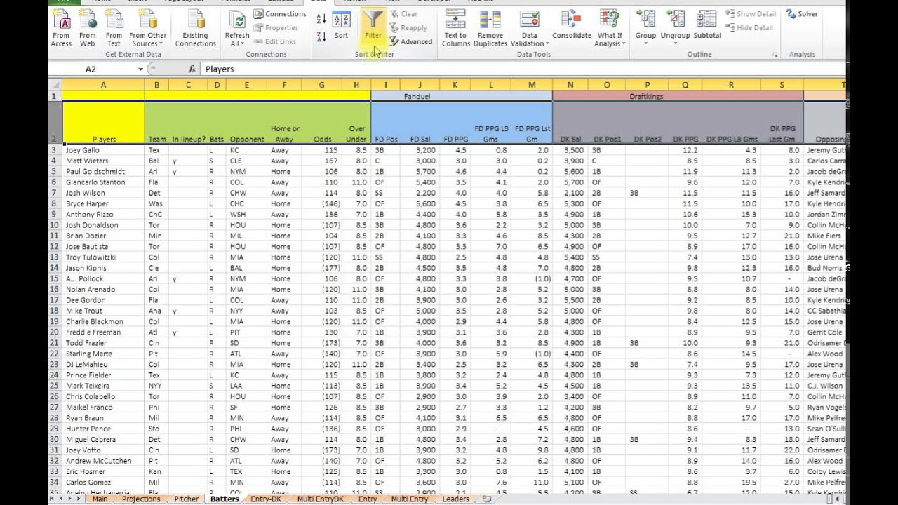 how to use the stats page from my daily fantasy baseball