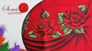 Rosas em Tecido Vermelho por Sonalupinturas