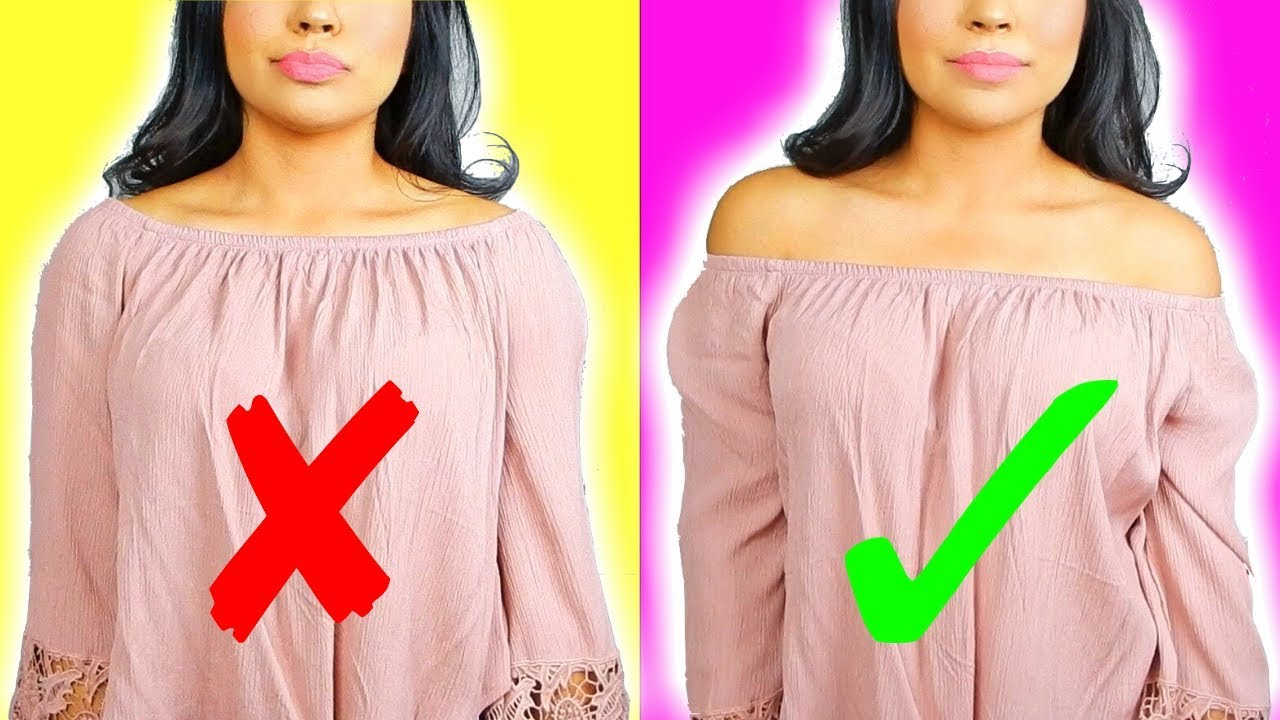 2d9c7455021382 HOW TO KEEP OFF THE SHOULDER TOPS IN PLACE! Clothing Hack Tested ...