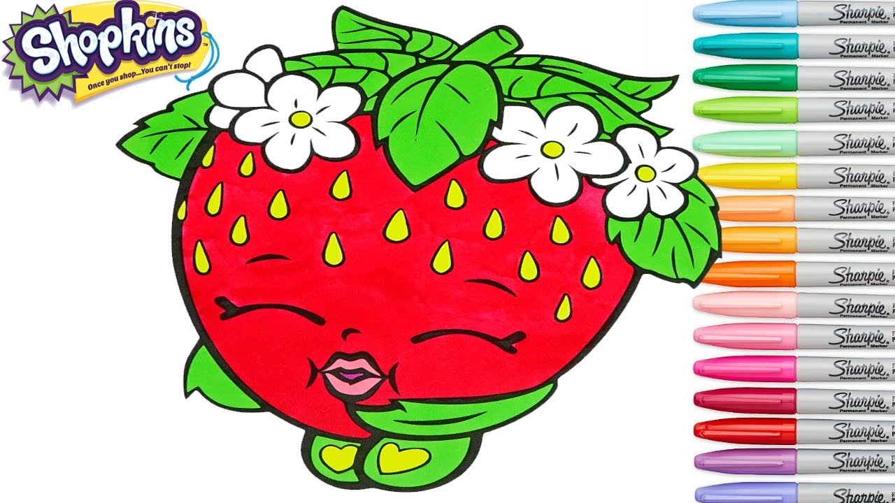 Shopkins coloring book pages strawberry kiss season 1 colouring pages rainbow splash