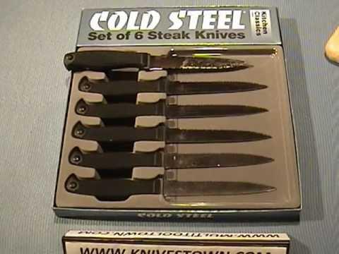 cold steel kitchen classics steak knife set model 59ks6z - youtube