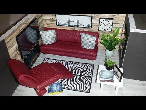 DIY Miniature Burgundy Dollhouse Living Room