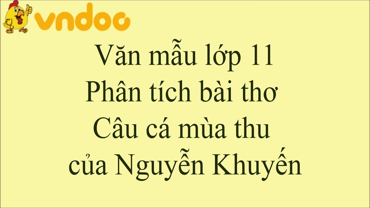 Phân tích bài thơ Câu cá mùa thu của Nguyễn Khuyến - VnDoc.com