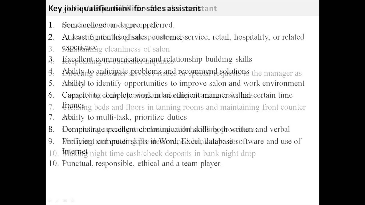 Sales assistant job description YouTube – Sales Assistant Job Description