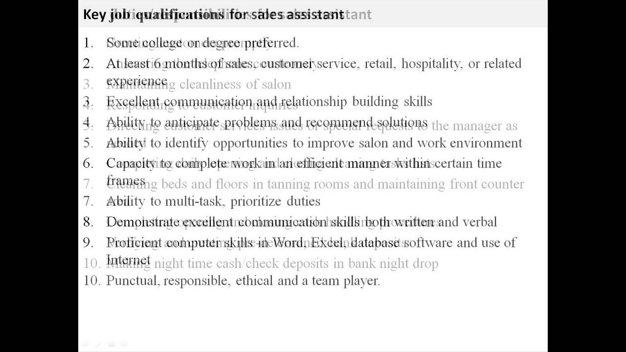 retail sales assistant duties