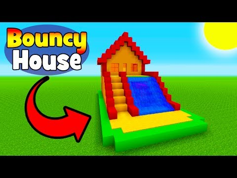 Minecraft Tutorial How To Make Bouncy House With Water Slide Bouncy House In Minecraft