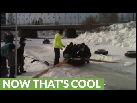 Frozen Alaskan river turns into human bowling lane!
