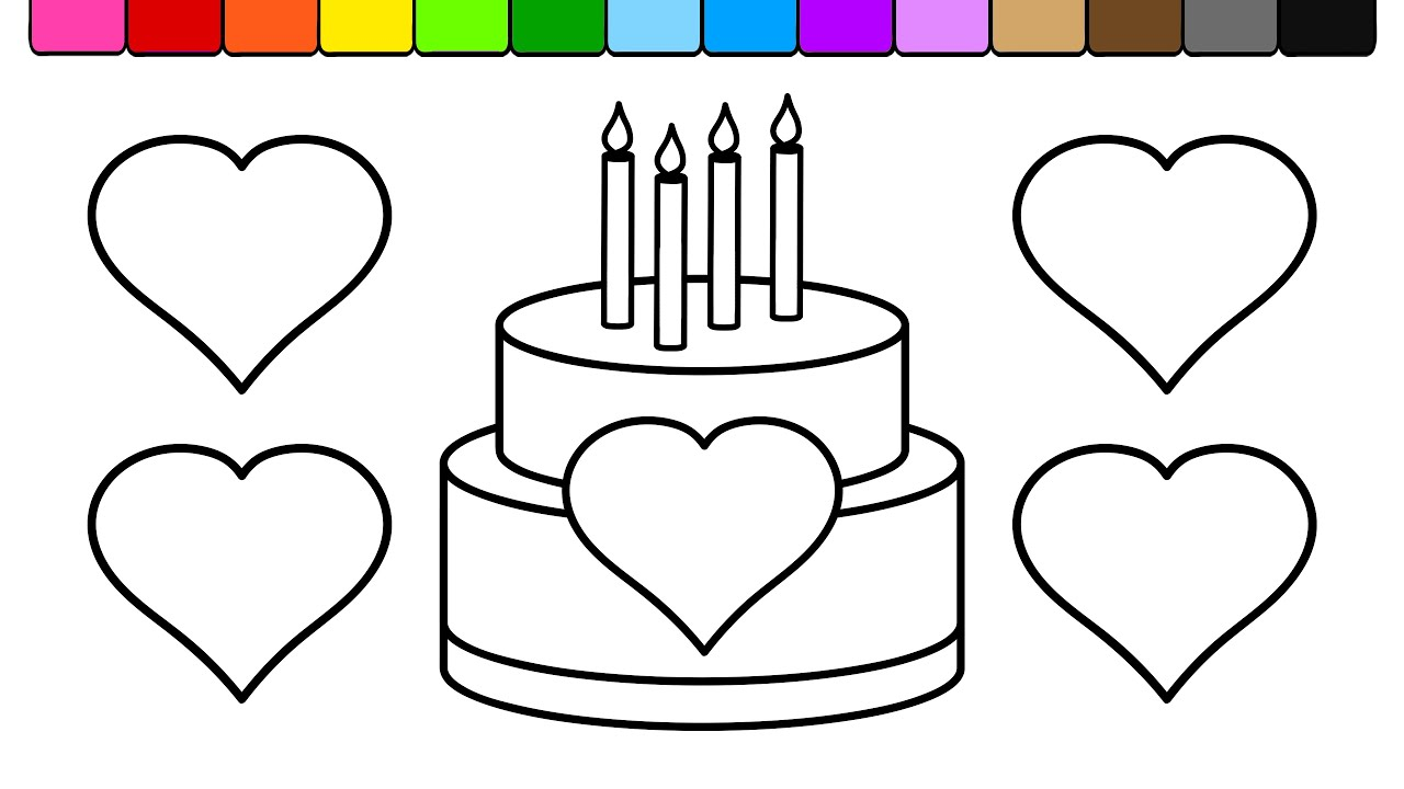 learn colors for kids and color heart birthday cake coloring page