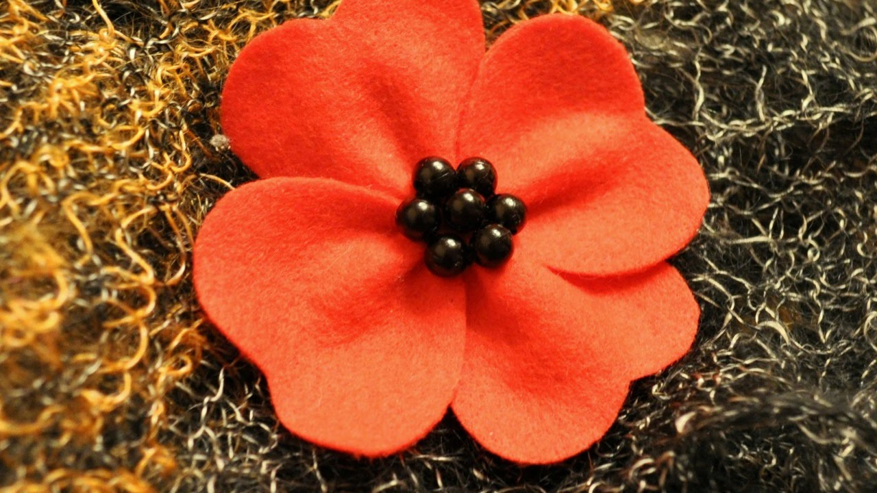 How To Make A Red Poppy Felt Brooch Diy Style Tutorial