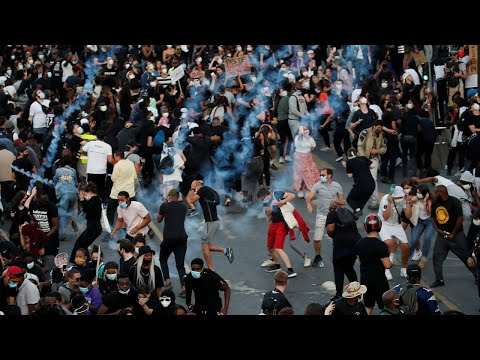 Paris: Police use tear gas to disperse protest over killing of black Frenchman and George Floyd