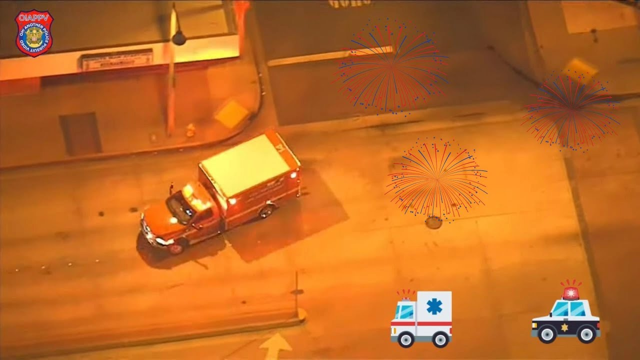 Police Chase Woman In Stolen Ambulance In Los Angeles On Independence Day - July 4, 2020