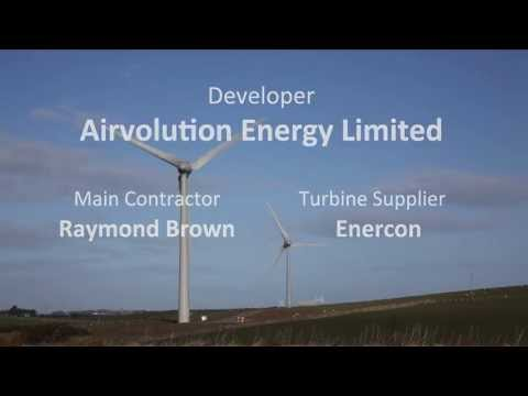Time lapse showing construction of two turbines at Ysgellog Farm in Anglesey.