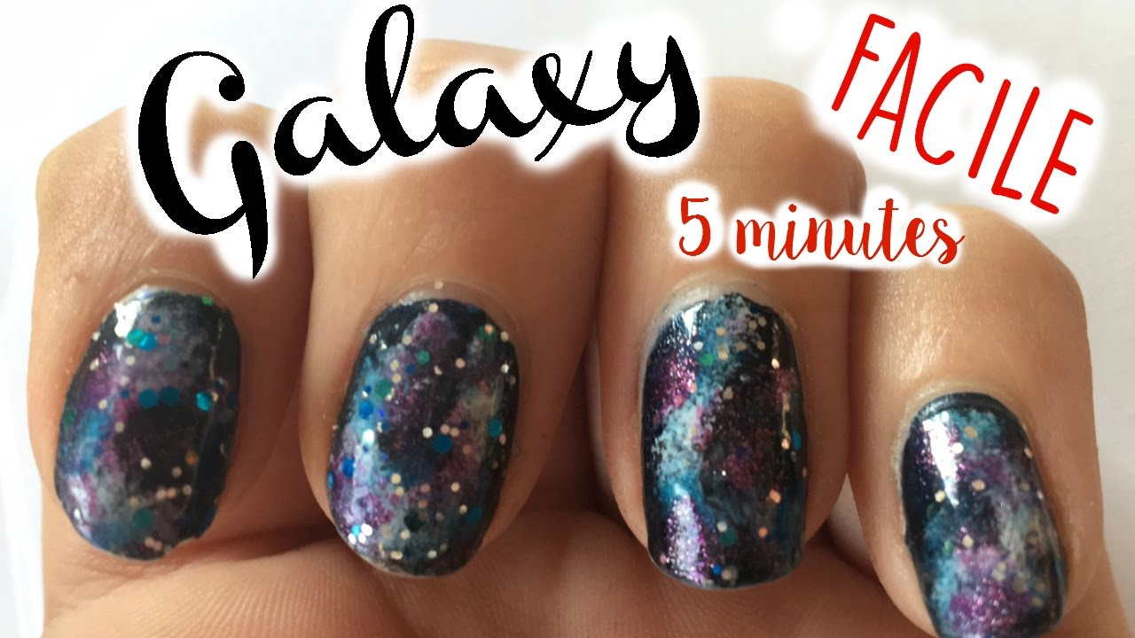 galaxy nail art facile et rapide en 5 minutes youtube. Black Bedroom Furniture Sets. Home Design Ideas