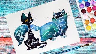 Рисунок котов для начинающих. Акварелью - шаг за шагом