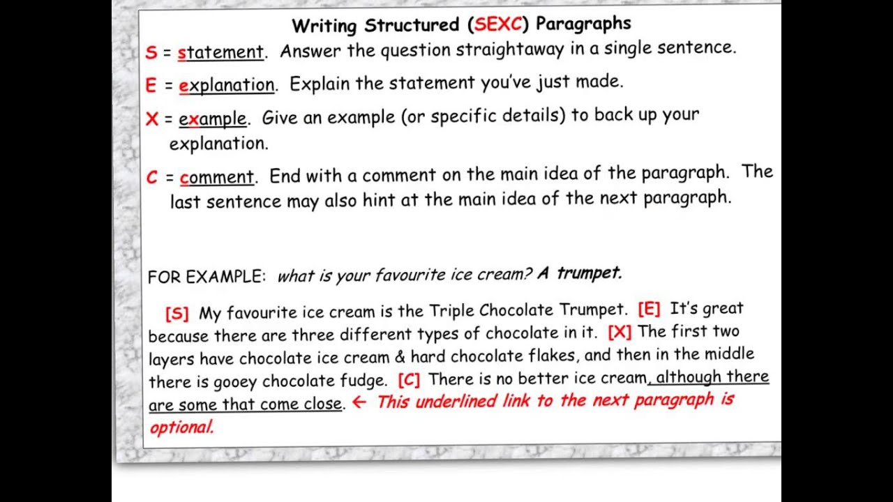 explaining how to write a sexc paragraph