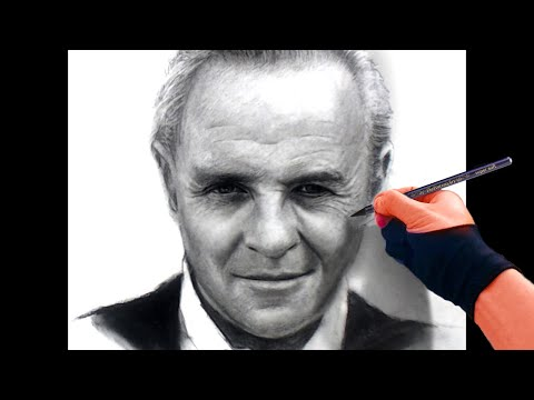 Drawing Anthony Hopkins - Soft Charcoal On Paper Art Drawing Video
