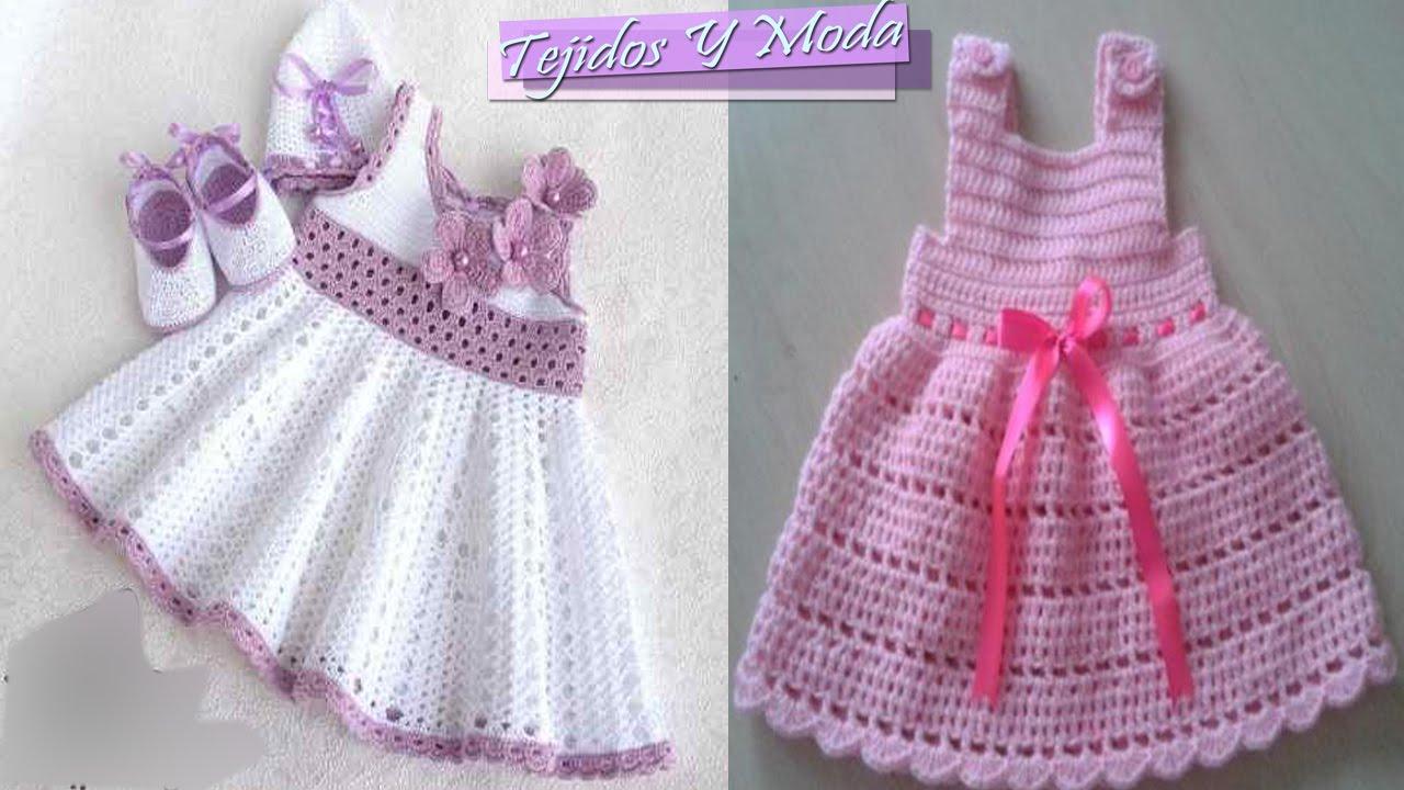Patrones de vestidos de bebes tejidos a crochet