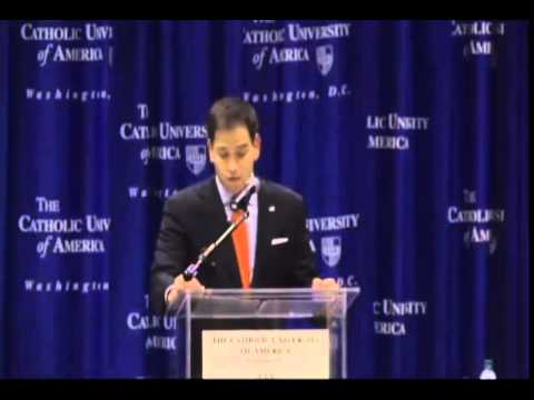 Rubio Delivers Address On Values At Catholic University