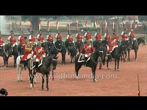 President's Bodyguards arrive to escort him for Beating Retreat ceremony