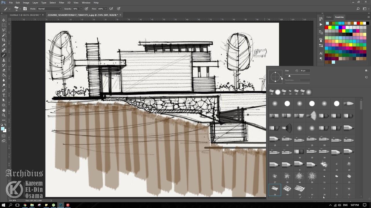 Architecture Sketch Presentation (Marker Method) - Photoshop