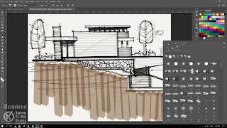 Architecture Sketch Presentation (Marker Method) - Photoshop