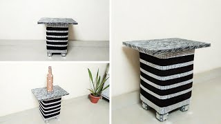 #DIY Glam Side Table From Cardboard And Plastic Bottles# Side Table Craft#Making Glam Side Table#