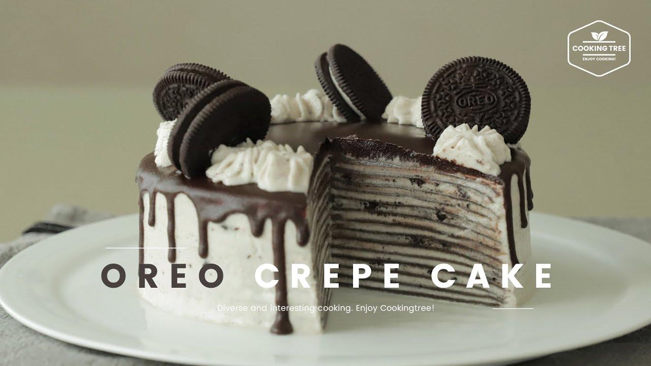 오레오 크레이프 케이크 만들기 Oreo Crepe Cake Recipe Cooking Tree