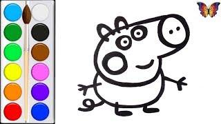 Раскраска для детей ДЖОРДЖ из мультика СВИНКА ПЕППА, Раскраски Малышам. / Видео