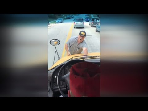 Retired Teacher Climbs Onto Hood of Moving School Bus