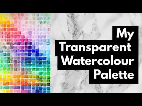 What's in My Transparent Watercolor Palette, Holbein, Daniel Smith, Schmincke, Winsor & Newton.