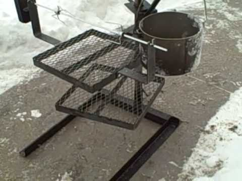 Portable Campfire Grilling Stand With Rotisserie.   YouTube
